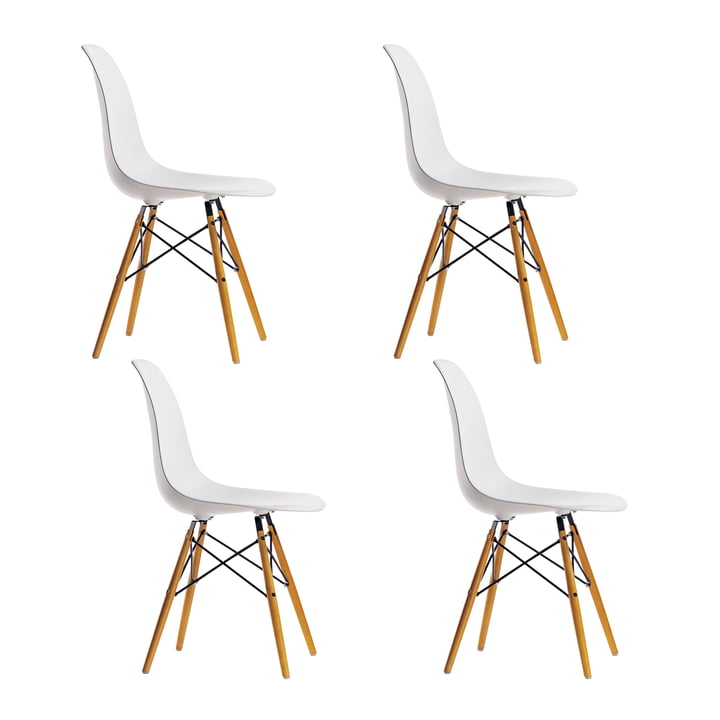 4 x Vitra - Eames Plastic Side Chair DSW (H 43 cm), yellowish maple / white, white felt glides