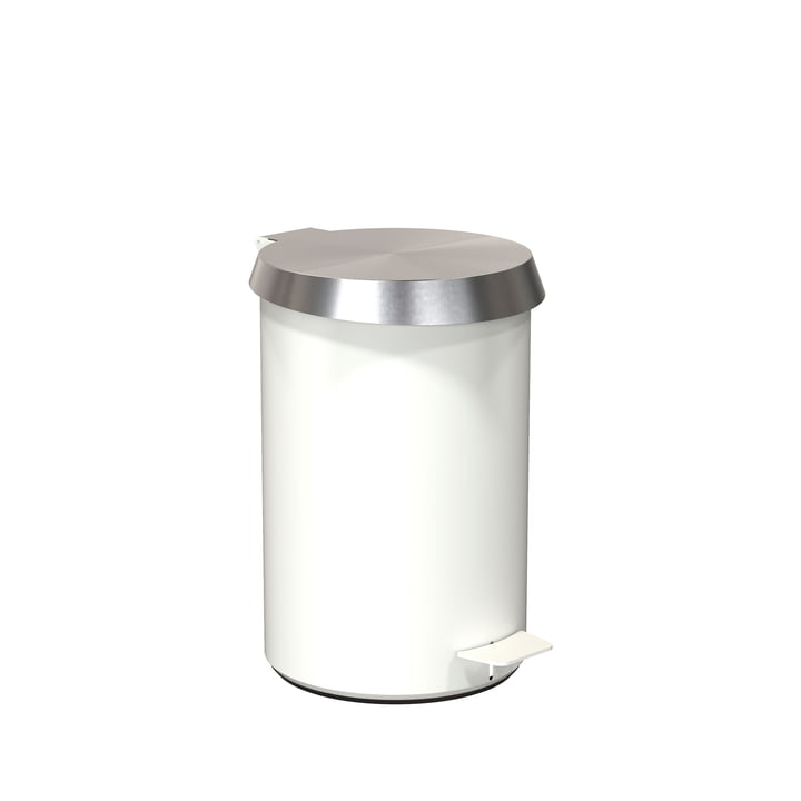 Pedal Bucket 350 in White / Brushed Stainless Steel by Frost