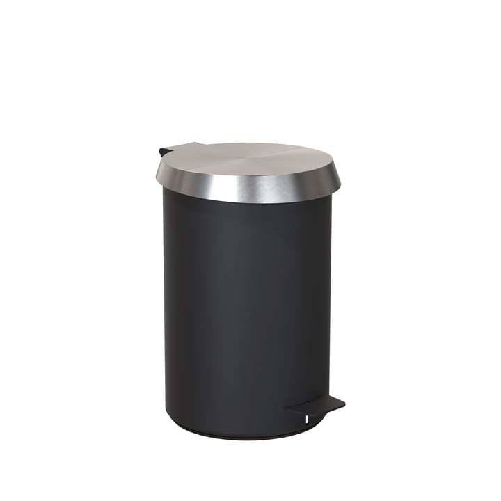 Pedal bucket 350 in black / brushed stainless steel by Frost