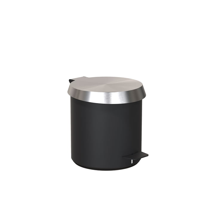 Pedal bucket 250 in black / brushed stainless steel by Frost
