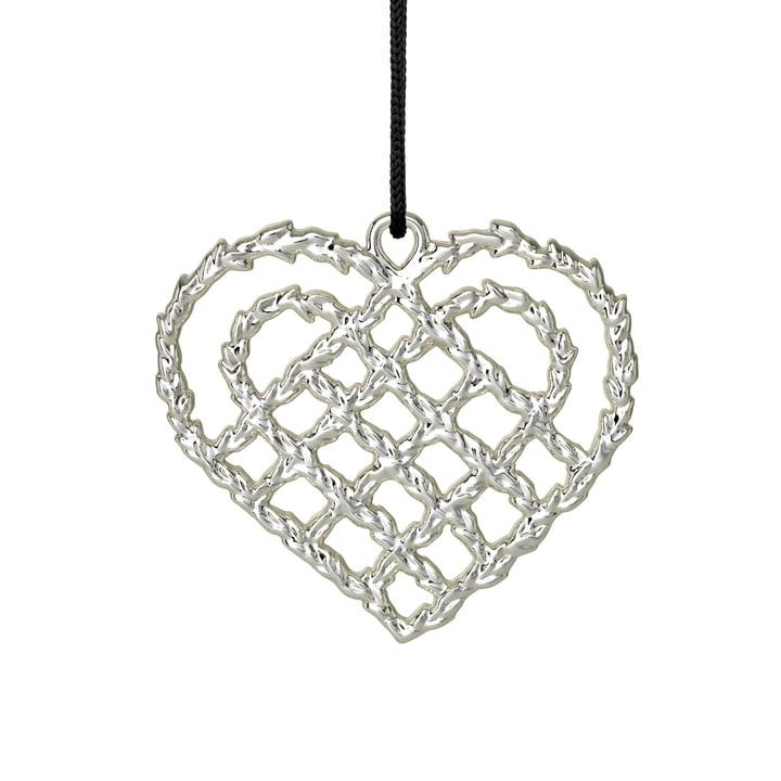 Woven Heart H 7 cm, silver by Rosendahl