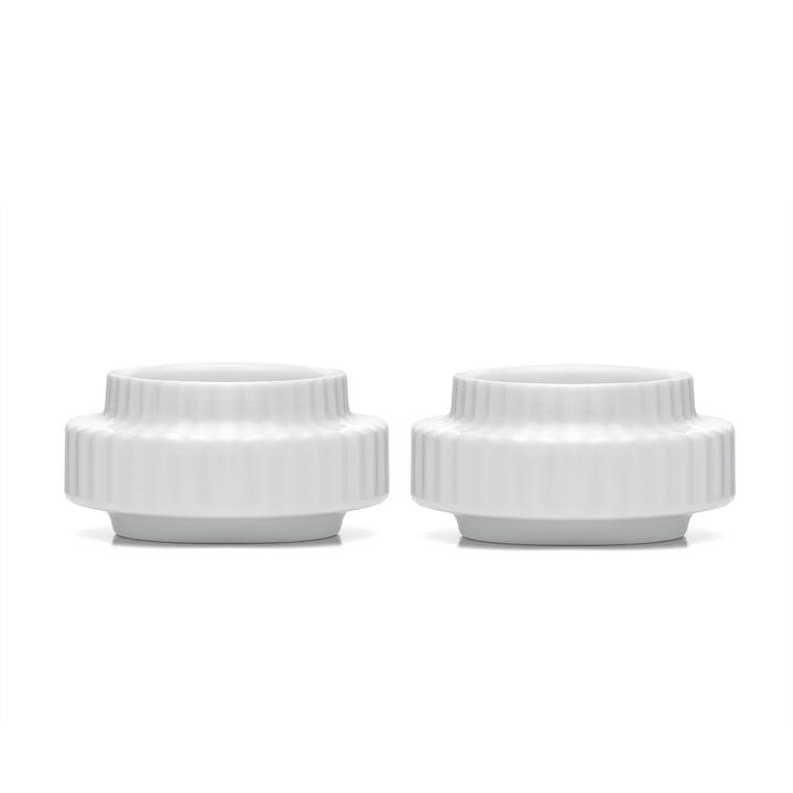 Tealight holder Ø 6,5 cm in white (set of 2) from Lyngby Porcelæn