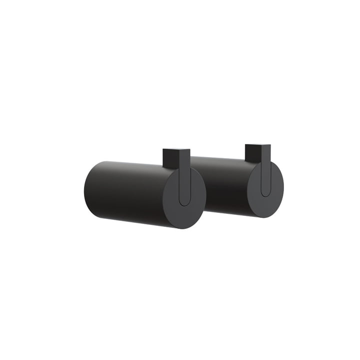 Nova 2 Wall Hooks, Ø 25 x T 50 mm in Black (set of 2) by Frost