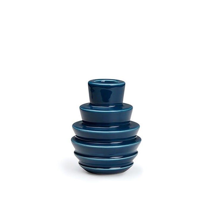 Cono Candleholder, Ø 7 x H 9 cm in blue by Kähler Design