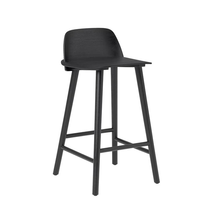 Nerd Bar stool H 65 cm from Muuto in black