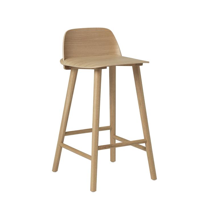 Nerd Bar stool H 65 cm from Muuto in oak