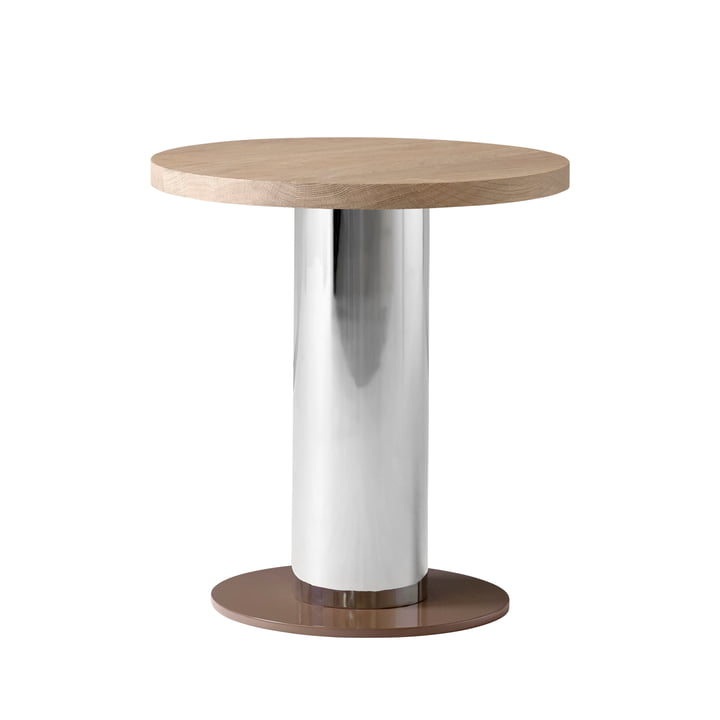 Mezcla JH 19 Side table by & tradition - Ø 42 x H 45 cm, oak / chrome / clay - cut-out