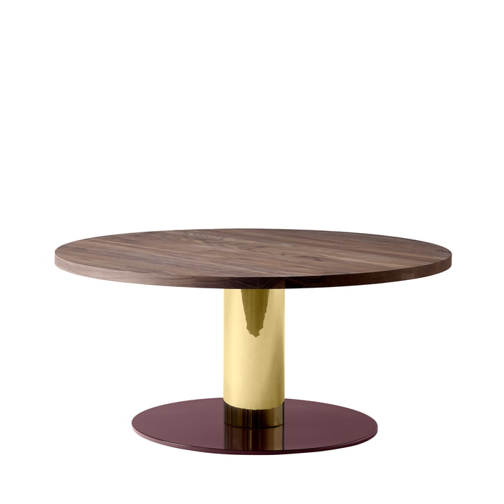 Mezcla JH20 coffee table from & tradition - Ø 80 x H 40 cm, walnut / brass / burgundy