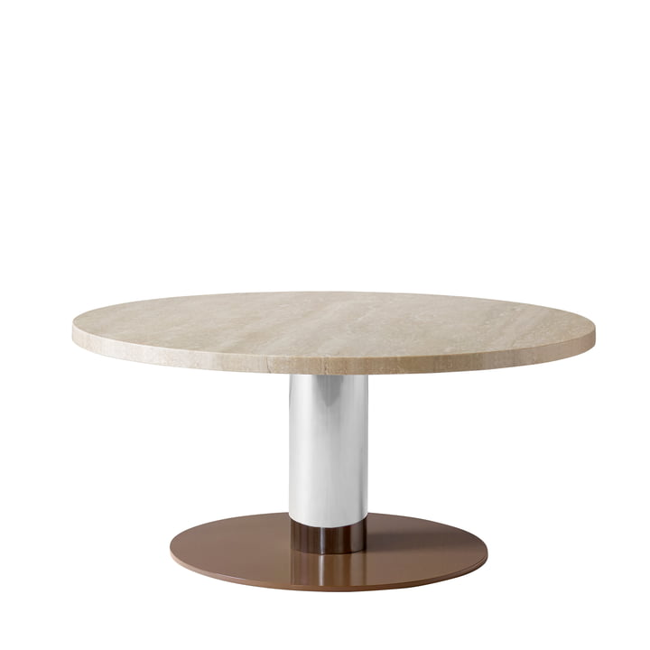 &tradition - Mezcla JH20 coffee table, Ø 80 x H 40 cm, travertine / chrome / clay