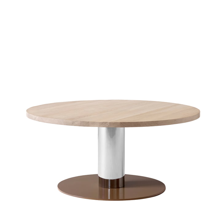 &tradition - Mezcla JH20 coffee table, Ø 80 x H 40 cm, oak / chrome / clay