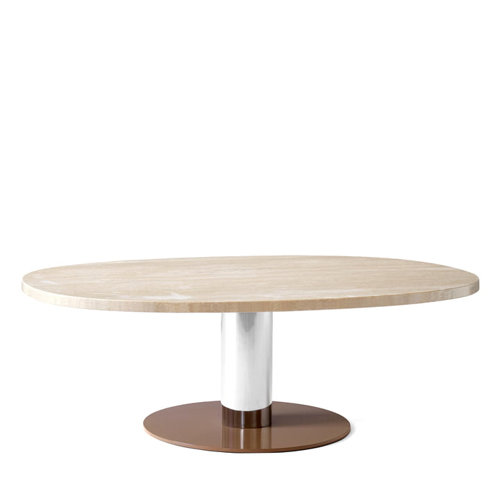 Mezcla JH21 coffee table from & tradition - 90 x 120 cm, travertine / chrome / clay
