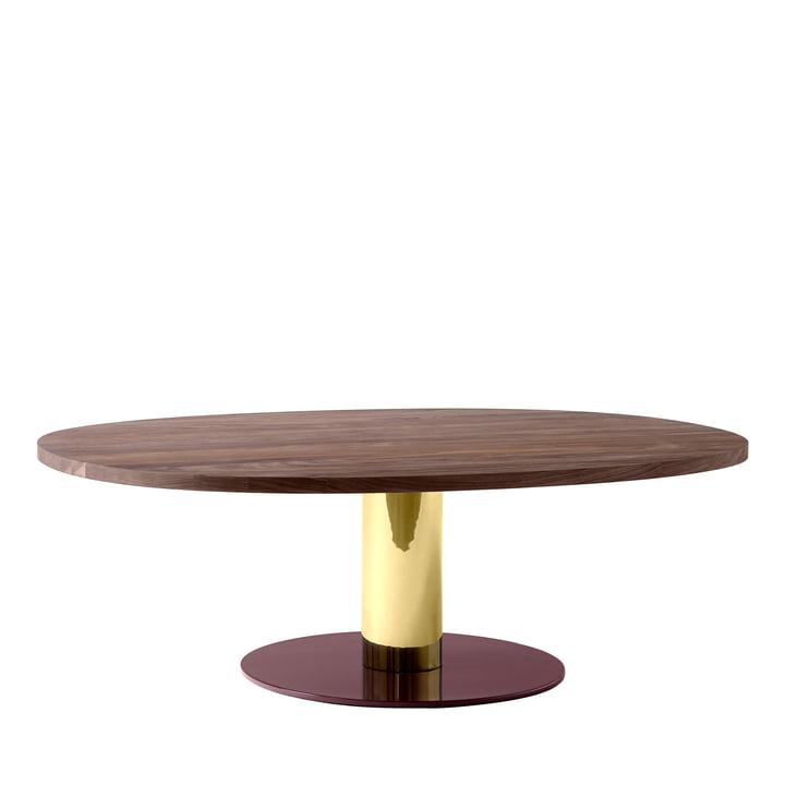 Mezcla JH21 Coffee Table by &Tradition - 90 x 120 cm, walnut / brass / burgundy