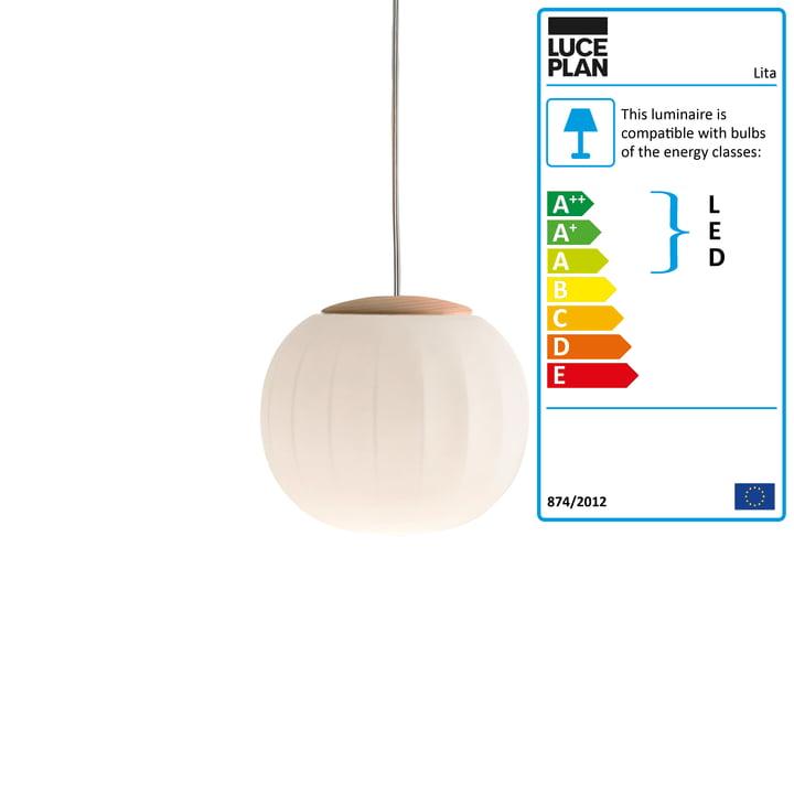 Lita Pendant Lamp by Luceplan in ash, Ø 14 cm