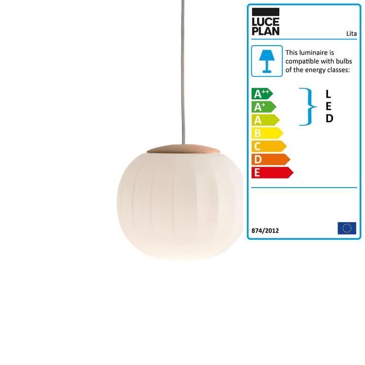 Lita Pendant Lamp by Luceplan in ash, Ø 18 cm