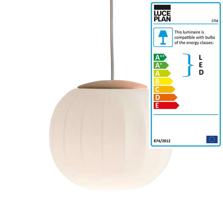 Lita Pendant Lamp by Luceplan in ash, Ø 42 cm