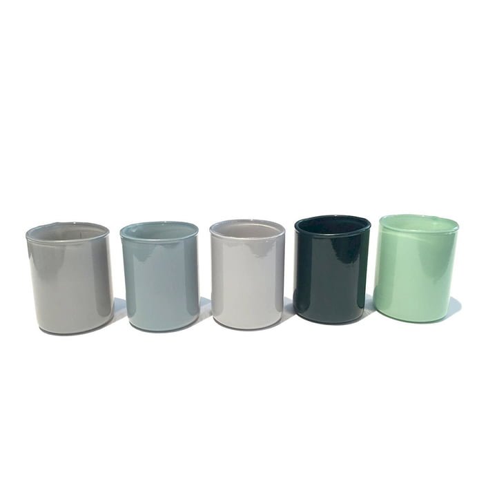 Spot Votive tealight holder in set of 5 by Hay in green
