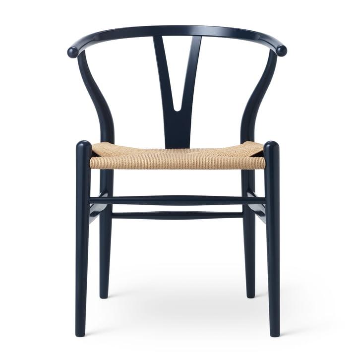 CH24 Wishbone Chair by Carl Hansen in Beech Navy Blue / Natural Braid (Birthday Edition)