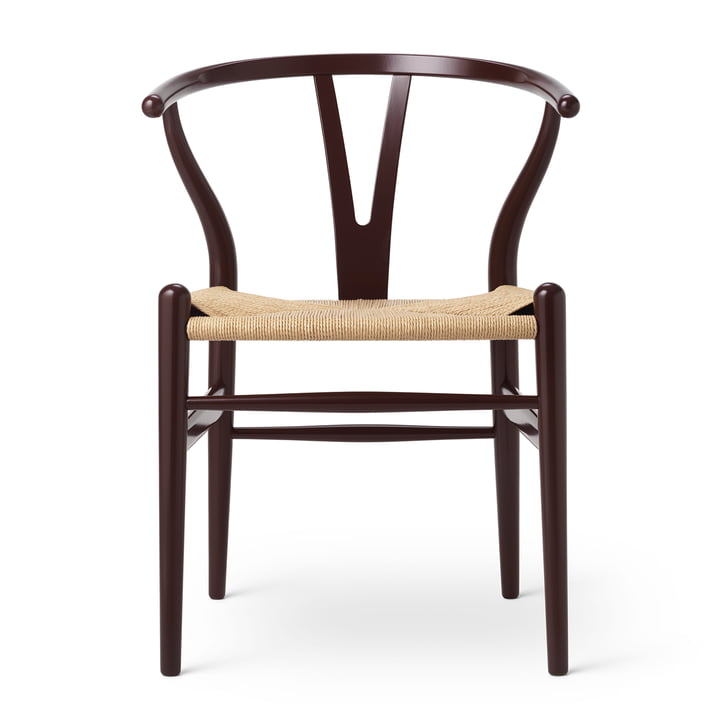 CH24 Wishbone Chair by Carl Hansen in beech Deep Burgundy / natural wickerwork (Birthday Edition)