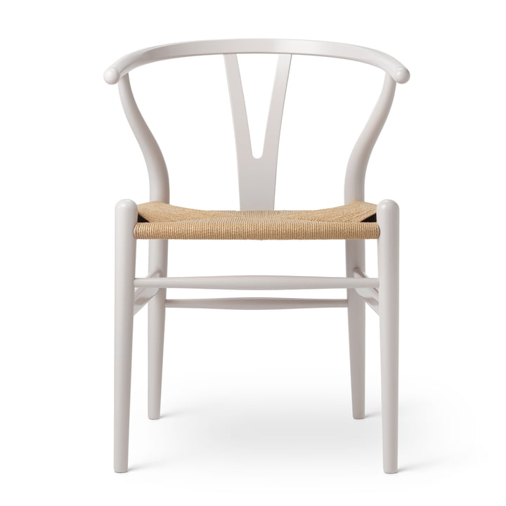 CH24 Wishbone Chair by Carl Hansen in beech Oyster Grey / natural mesh (Birthday Edition)