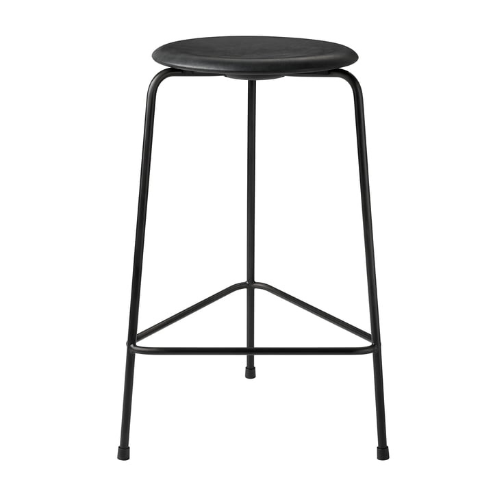 Dot bar stool by Fritz Hansen - H 65 cm, leather black / underframe black