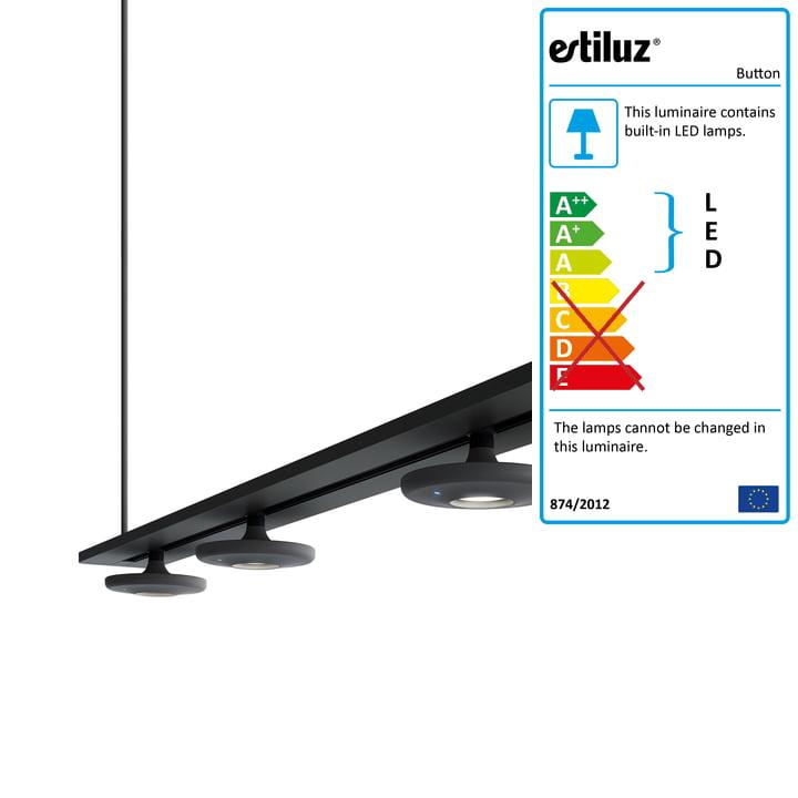 Button pendant lamp T-3305 by Estiluz in black