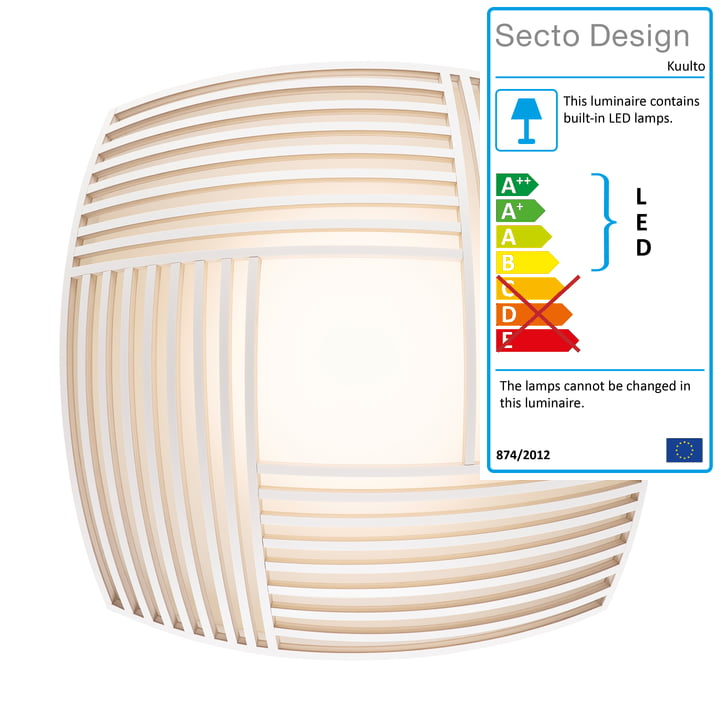 Kuulto 9100 LED wall and ceiling light from Secto in white