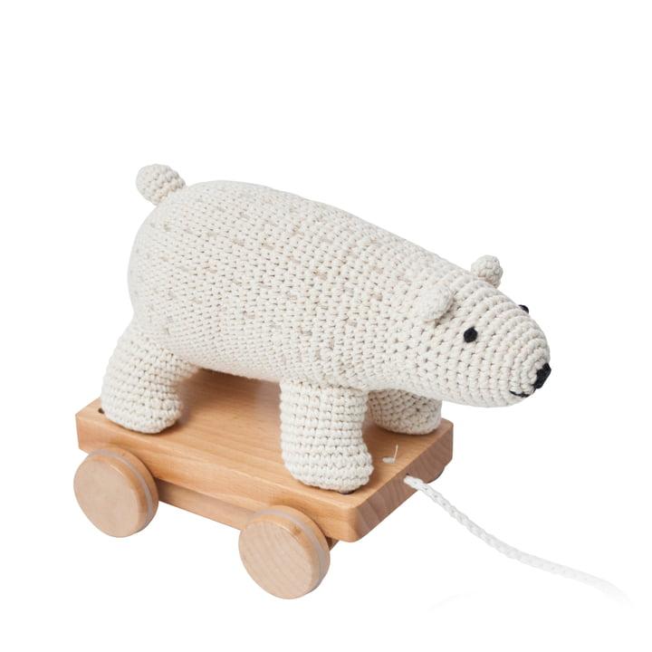 Crochet pull-along animal polar bear from Sebra