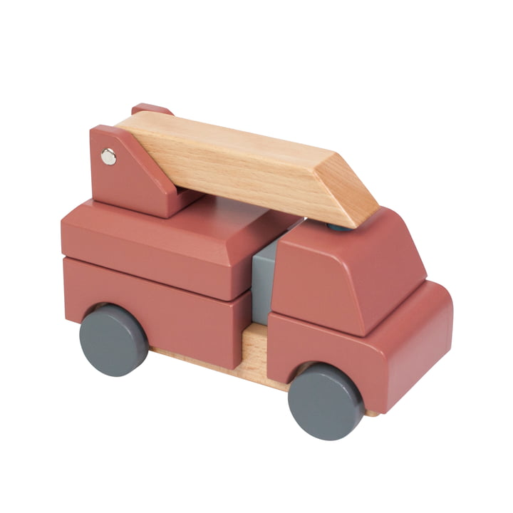 Fire engine made of wood from Sebra in red