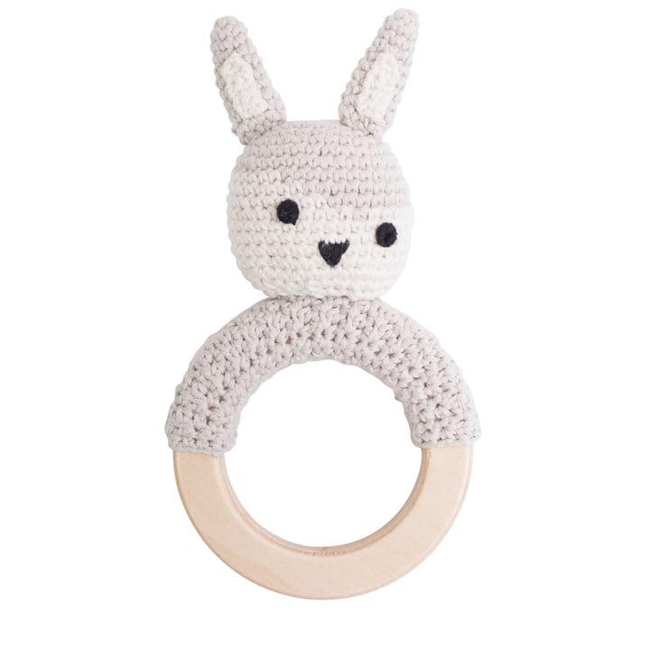 Crochet rattle rabbit from Sebra in beige