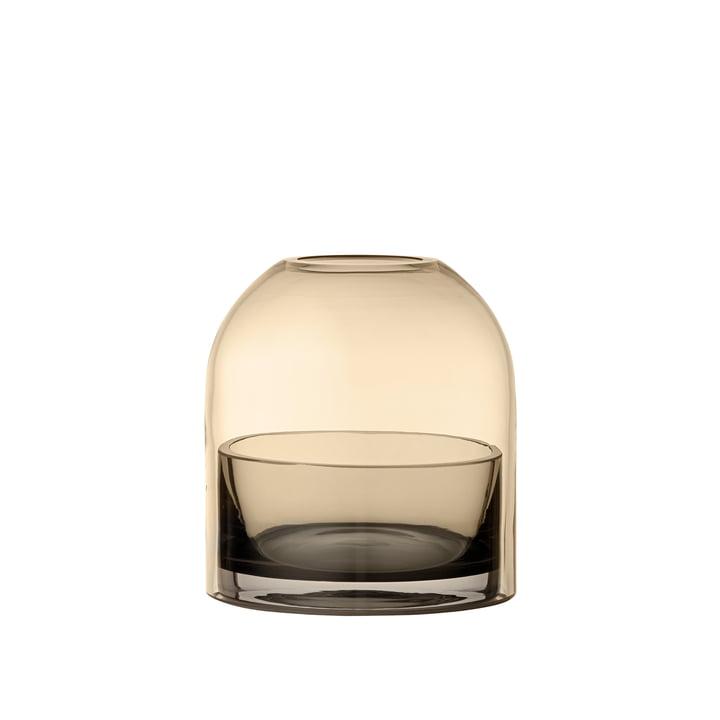 Tota tea light holder, Ø 9,3 x H 10,3 cm in black / amber from AYTM