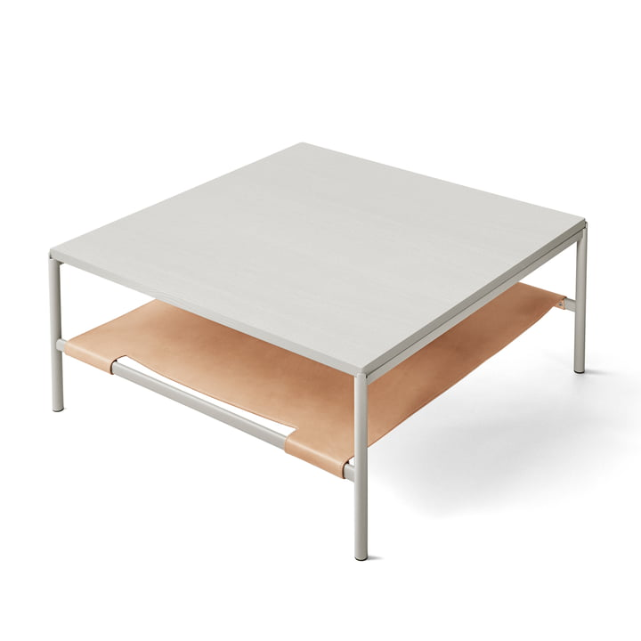 Mies Lounge Table in grey / Ash grey / Leather natural from Million