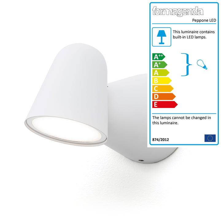 Peppone LED wall lamp from Formagenda in white matt