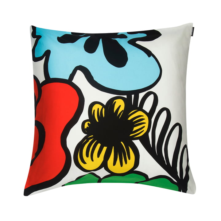 Eläköön Elämä cushion cover 50 x 50 cm in white / red / blue / yellow by Marimekko