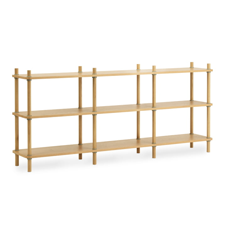 Jam bookcase L 203 cm by Normann Copenhagen in oak / grey