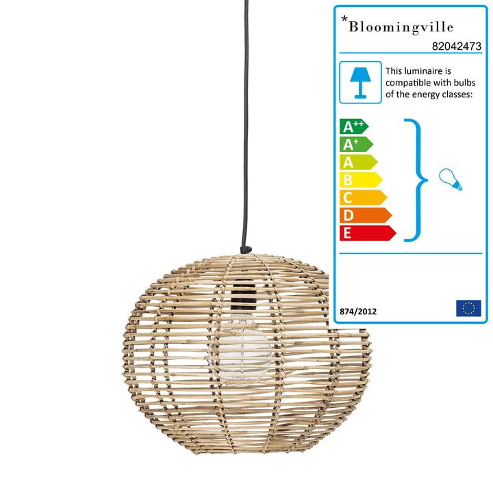 Rattan pendant lamp from Bloomingville, Ø 38 x H 29 cm