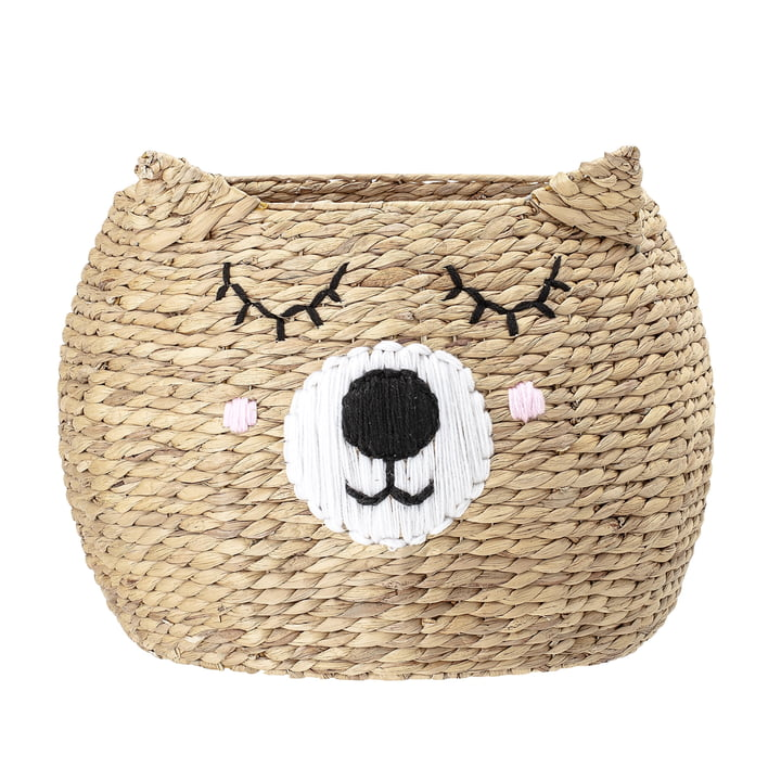 Storage basket with face of Bloomingville, Ø 50 x H 40 cm, bear