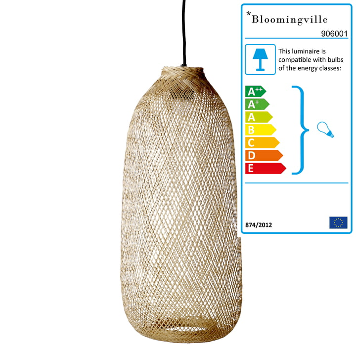 Bamboo pendant lamp from Bloomingville, Ø 25 x H 65 cm