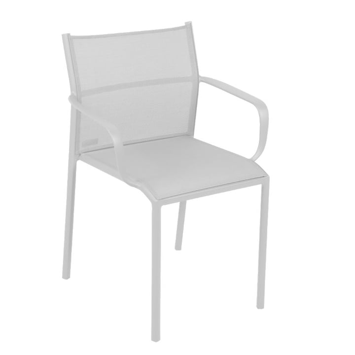 Cadiz chair with armrests by Fermob in cotton white