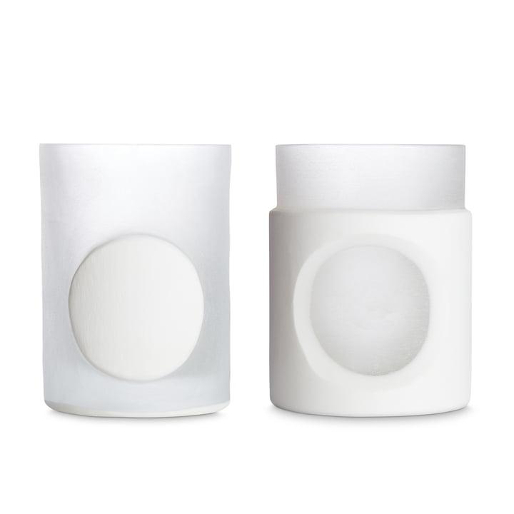 Carved vase by Tom Dixon in white in set of 2