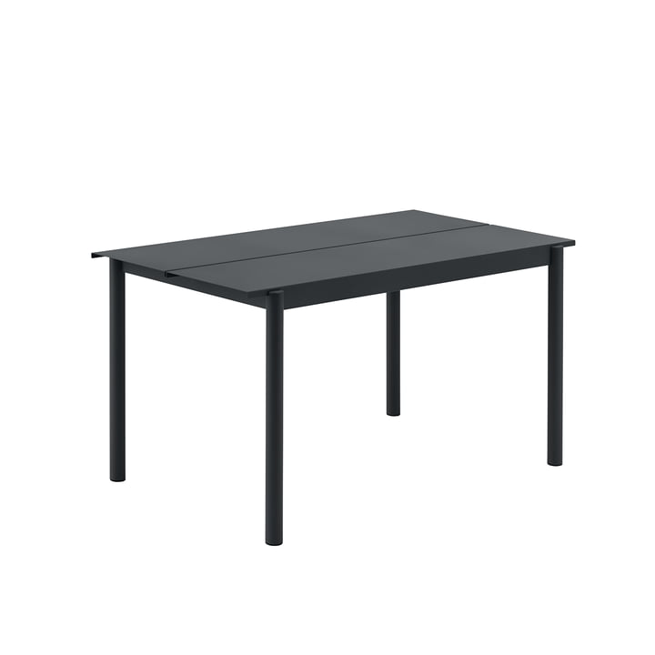 Linear Steel Table, 140 x 75 cm in black by Muuto