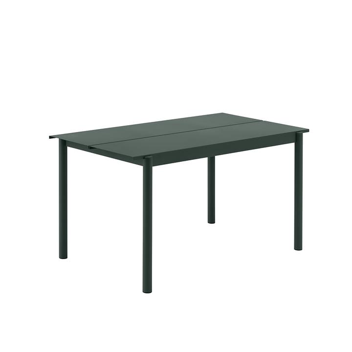 Linear Steel Table, 140 x 75 cm in dark green by Muuto