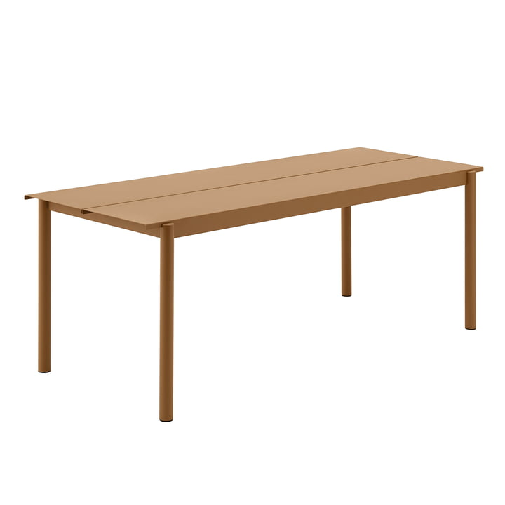 Linear Steel Table, 200 x 80 cm in burnt orange by Muuto