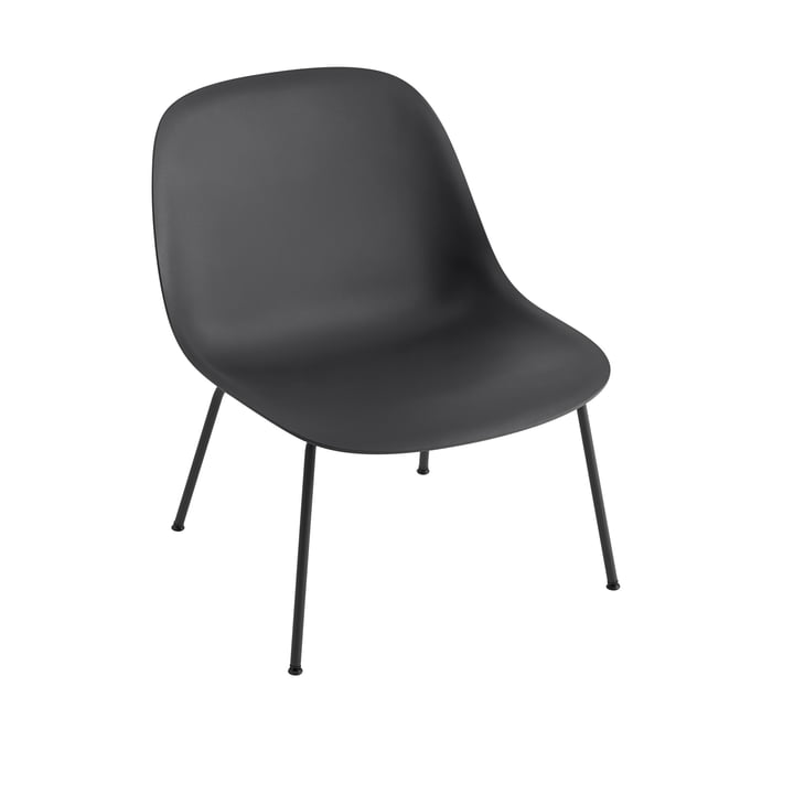 Fiber Lounge Chair Tube Base in black by Muuto
