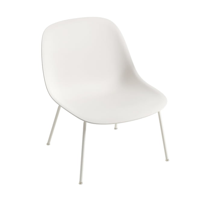 Fiber Lounge Chair Tube Base in white by Muuto