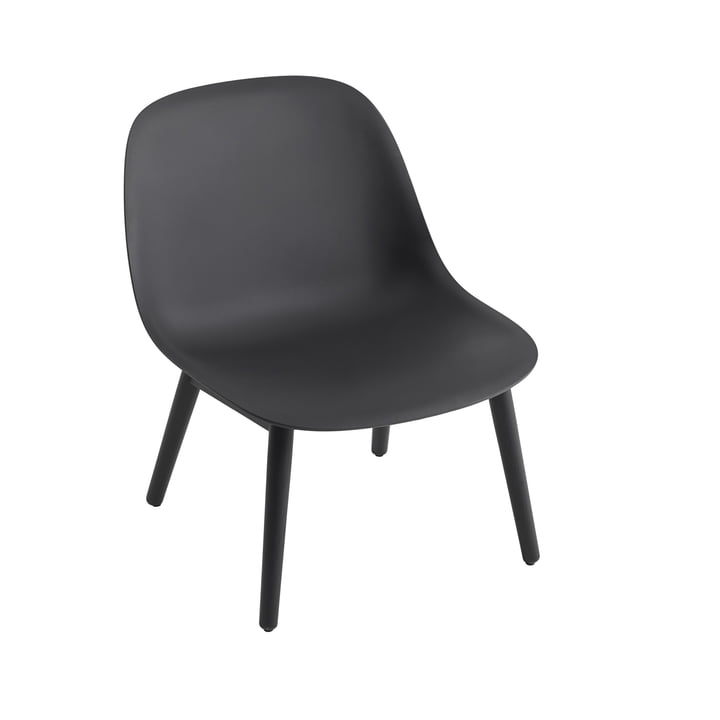 Fiber Lounge Chair Wood Base in black by Muuto