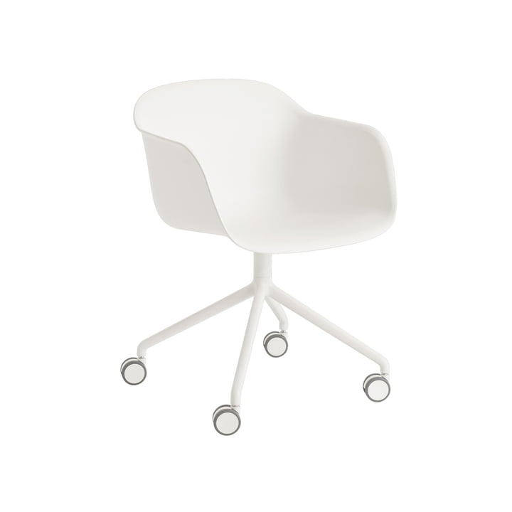 Fiber Armchair Swivel with wheels in white by Muuto