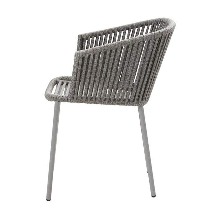 Moments Chair with armrest (7440), stackable from Cane-line in grey