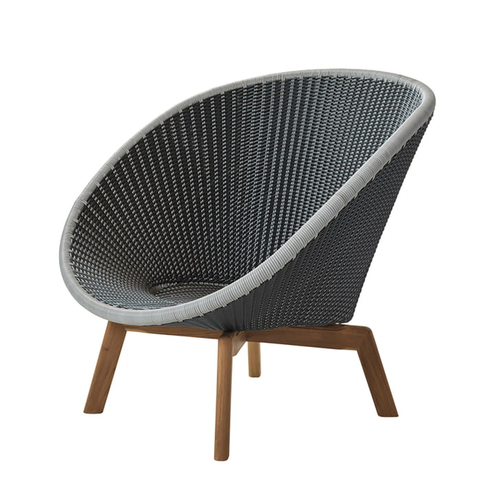 Peacock Lounge Chair (5458) by Cane-line in Teak / grey / light grey