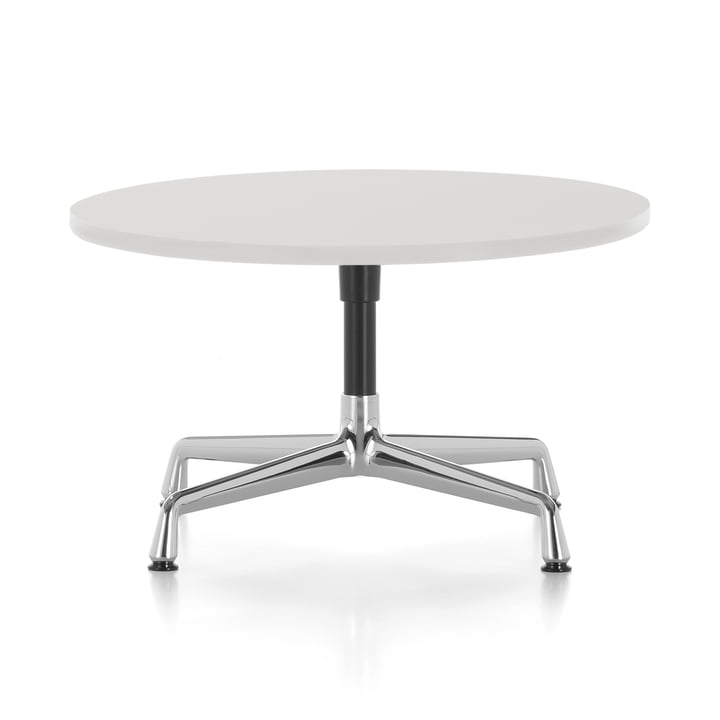 Eames Side Table Ø 70 x H 40 cm from Vitra in polished aluminium / basic dark / melamine white