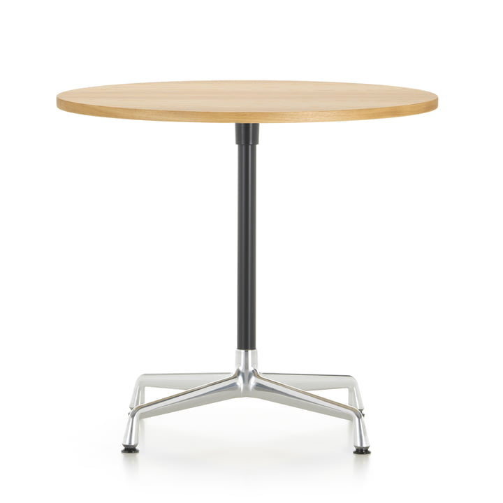 Contract Table Ø 80 cm from Vitra in aluminium polished / basic dark / oak light